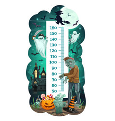 Kids height chart with halloween ghosts vector