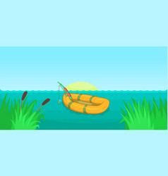 lake fishing horizontal banner cartoon style vector image