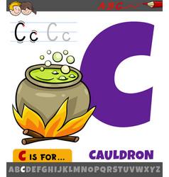Letter c from alphabet with cartoon cauldron vector