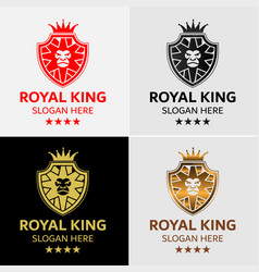 Lion king crest logo template vector