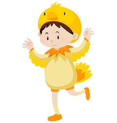 Little kid in chicken costume vector