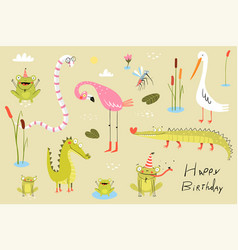 lizard frogs alligators crocodiles and flamingo vector image