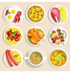 Main Dishes Set vector
