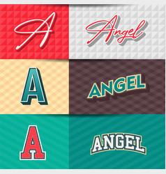 Male nameangel in various retro graphic design vector