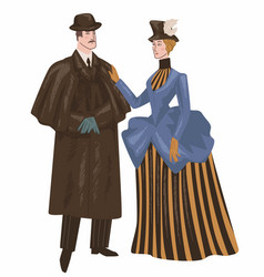 man and woman wearing victorian epoch clothes vector image