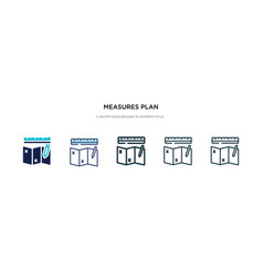 Measures plan icon in different style two vector