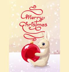 merry christmas xmas card vector image