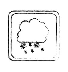 Monochrome blurred square frame with cumulus of vector