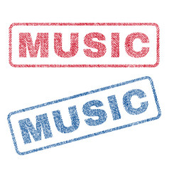 Music textile stamps vector