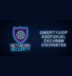 Network security glowing neon sign with alphabet vector