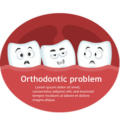 orthodontic problem banner with teeth characters vector image