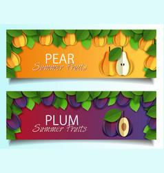 paper cut pear plum fruit banner set vector image
