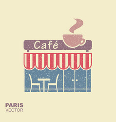 parisian street cafe flat icon with vector image