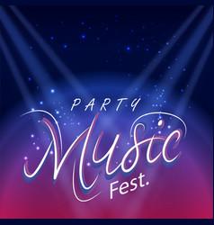 party music fest spot light blue background vector image
