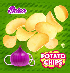 potato chips whith onion flavor advertising vector image