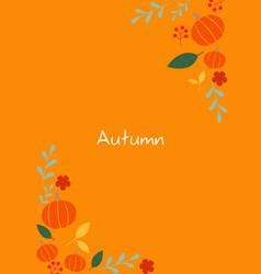 pumpkin leaf berry flower herbal tea frame vector image