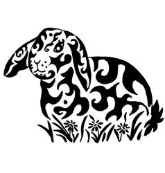 Rabbit in flowers vector image