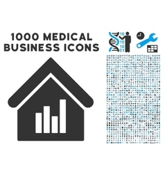 Realty Bar Chart Icon with 1000 Medical Business vector image