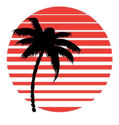 Retro striped sun and palm vector