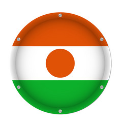 Round metallic flag of niger with screws vector