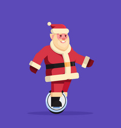 santa claus ride electric mono wheel scooter merry vector image