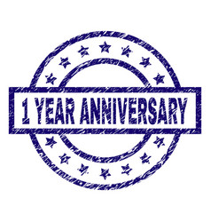 Scratched textured 1 year anniversary stamp seal vector