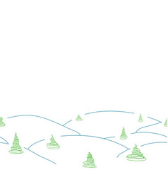 Seamless winter border from snowdrift and tree vector