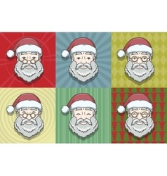 Set of smiling Santa Claus face with round glasses vector
