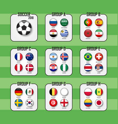 soccer cup 2018 set of national flags team group vector image