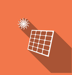 solar energy panel icon isolated with long shadow vector image