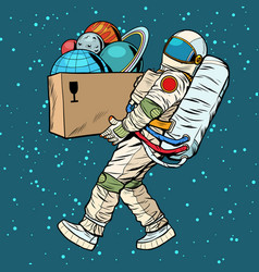 Space exploration concept astronaut takes vector