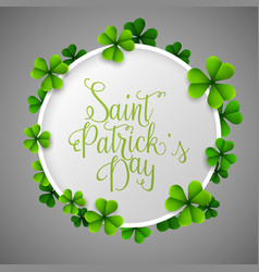 st patricks day background with green clover vector image
