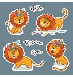 sticker set cartoon lion action vector image