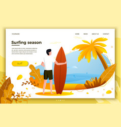Surfing man on a beach vector