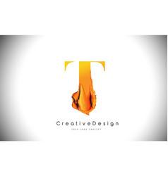 t orange letter design brush paint stroke gold vector image