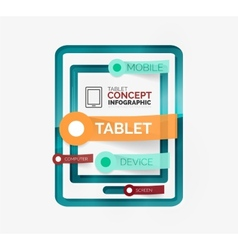 Tablet infographic scheme with tags vector