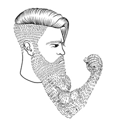 The serious man with a long beard in form a vector