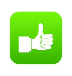 thumb up gesture icon digital green vector image