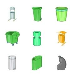 Trash icons set cartoon style vector image