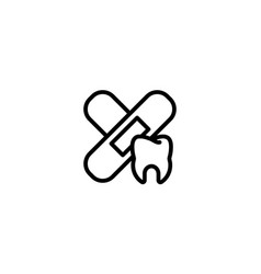 treatment care medicine dental tooth icon in vector image