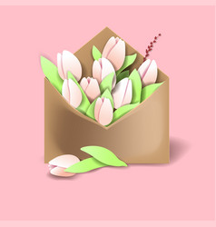 tulips of pink color in the paper envelope with vector image