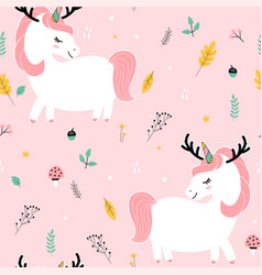 unicorn and xmas elements are seamless vector image