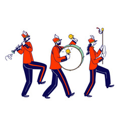 Victory parade celebration musician characters vector