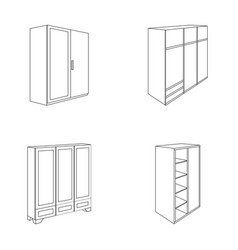 Wardrobe with mirror wardrobe shelving with vector