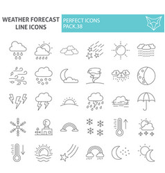 weather forecast thin line icon set climate vector image