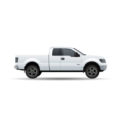 White pick up truck isolated on white vector image