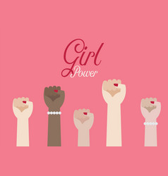 women fist hands and inscription girl power vector image