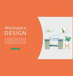 workspace interior design web vector image
