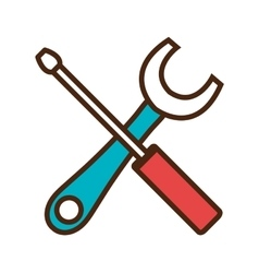 Wrench and screwdriver tools isolated flat icon vector image