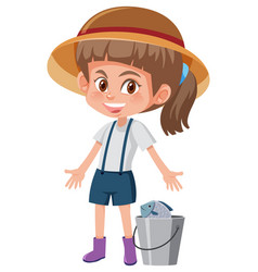 Young girl with bucket vector